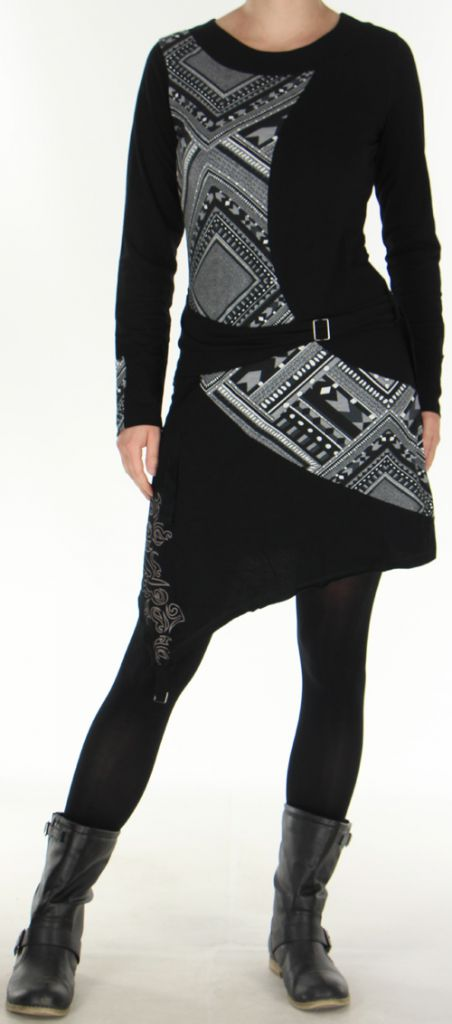 Robe d'hiver Ethnique et Originale transformable Asymia Noire 277932