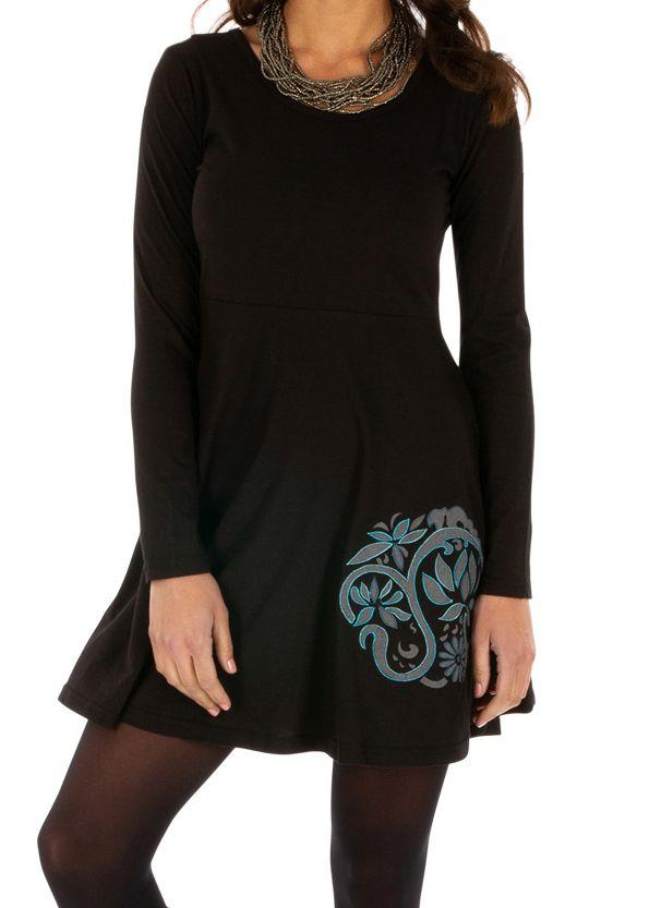 Robe d'hiver ethnique noire à manches longues Boende 313943
