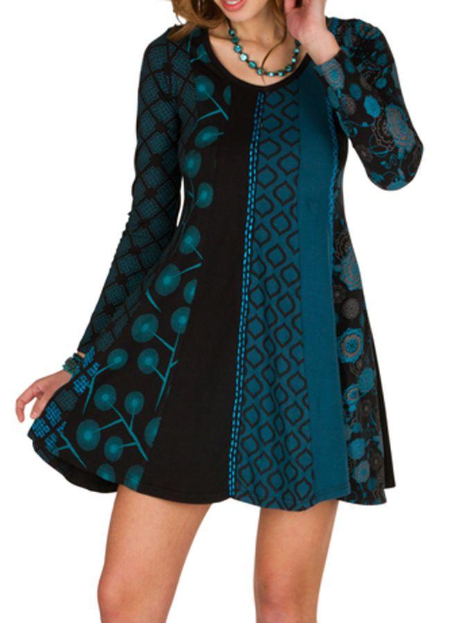Robe d'hiver imprimée en coton à manches longues et col rond Mélly 298677