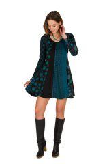 Robe d'hiver imprimée en coton à manches longues et col rond Mélly 298678
