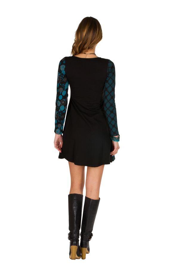 Robe d'hiver imprimée en coton à manches longues et col rond Mélly 298680