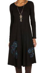 Robe d'hiver longue avec imprimés fanaisies bleu Oriany 298782