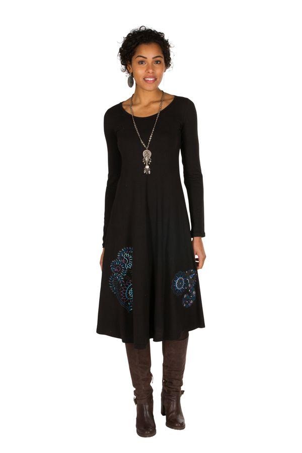 Robe d'hiver longue avec imprimés fanaisies bleu Oriany 298783