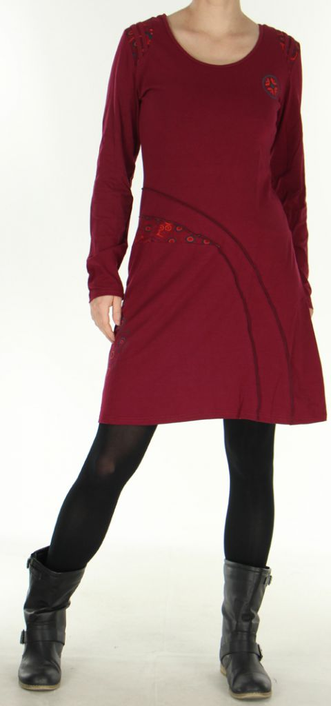 Robe d'hiver mi-longue Originale et Ethnique Dona Framboise 278833