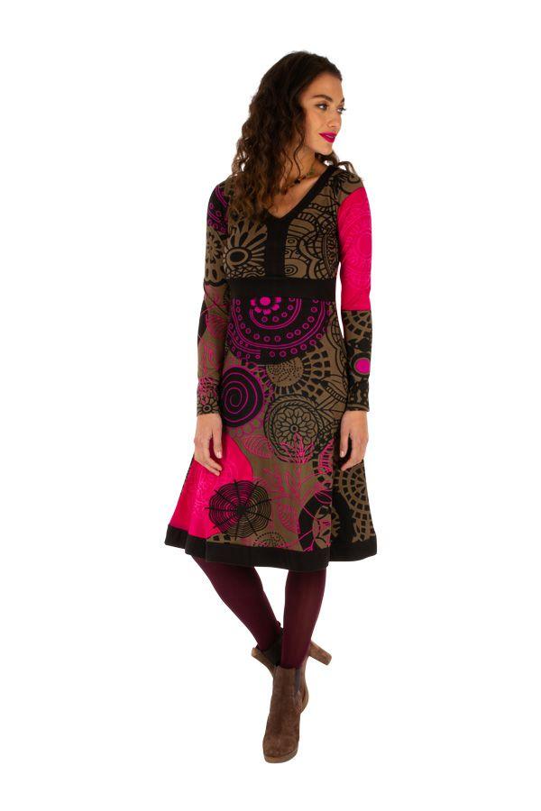 Robe d'hiver mi-longue très colorée et imprimée Janna 312650