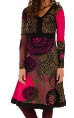 Robe d'hiver mi-longue très colorée et imprimée Janna 312652