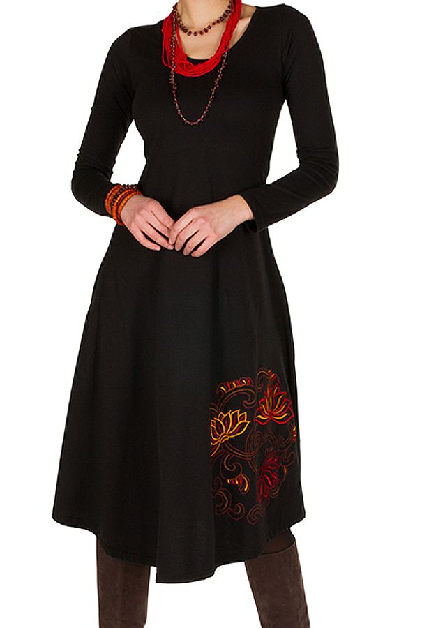 magasin d'usine da5f6 52539 Robe d'hiver Noire longue avec imprimés colorés Plamy