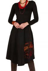 Robe d'hiver Noire longue avec imprimés colorés Plamy 298798