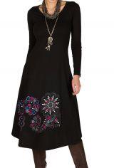Robe d'hiver Noire longue avec imprimés fantaisies Narla 298806