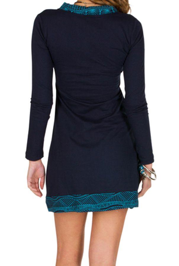 Robe d'hiver original en coton à manches longues avec imprimés April 298663