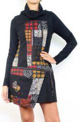 Robe d'hiver originale et colorée en laine col roulé Sania 302623