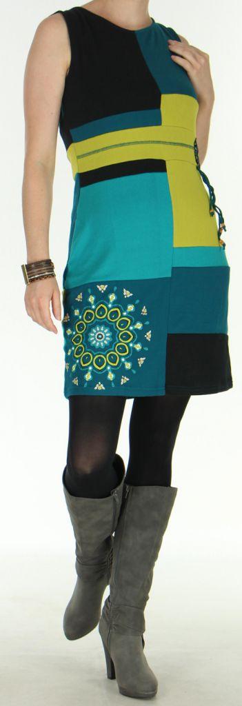 Robe d'Hiver sans manches Très Originale et Colorée Sevane Pétrole 276087