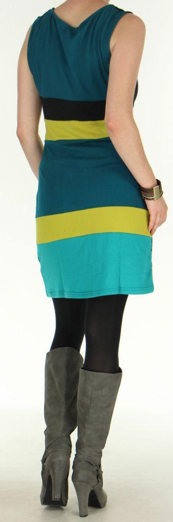 Robe d'Hiver sans manches Très Originale et Colorée Sevane Pétrole 276088