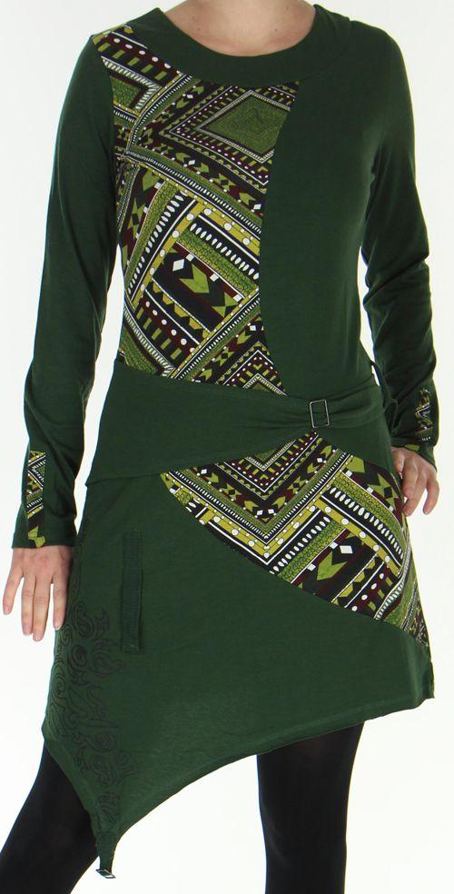 Robe d'hiver transformable Ethnique et Originale Asymia Kaki 277923