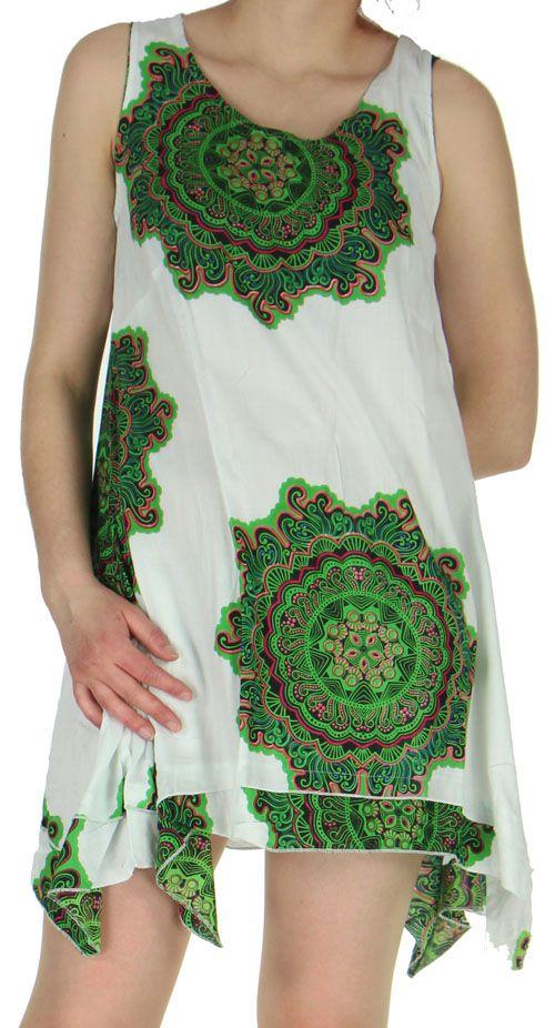 robe de plage blanche asymetrique et coloree natasha. Black Bedroom Furniture Sets. Home Design Ideas