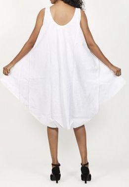 Robe de plage blanche coupe trapèze sans manches Félici