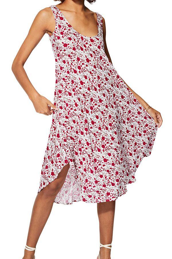 Robe de plage blanche mi longue à bretelles et imprimé fleuri Felicia