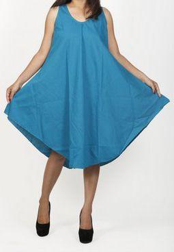 Robe de plage bleue coupe trapèze sans manches Félici 271217