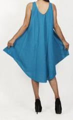Robe de plage bleue coupe trapèze sans manches Félici