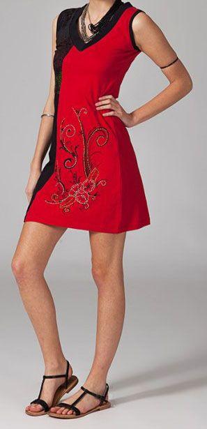 Robe de plage bohème chic rouge Ilanna 269128