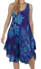 Robe de plage courte de couleur bleue été 2020 Luisine 317015