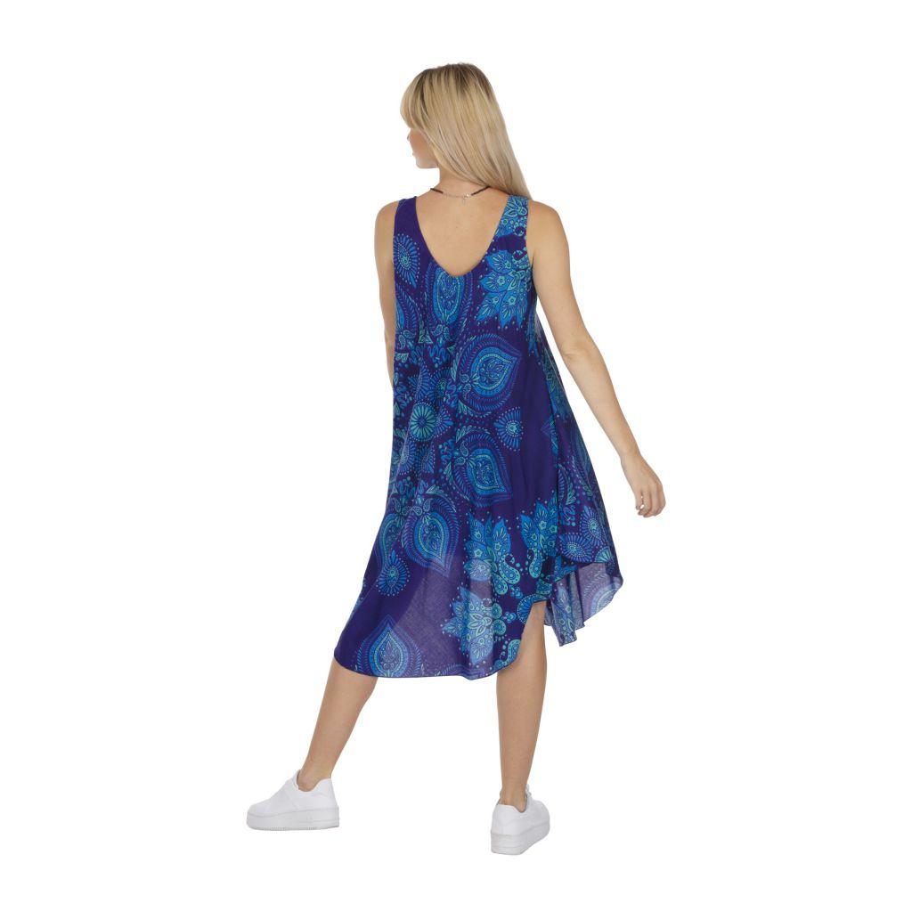 Robe de plage courte de couleur bleue été 2020 Luisine 317017