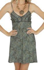 Robe de plage courte imprimé bohème caraco pour femme