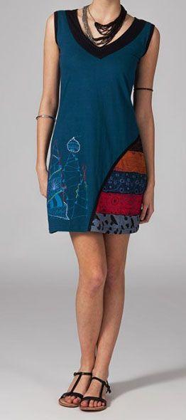 Robe de plage en coton léger bleue Jaina 269123