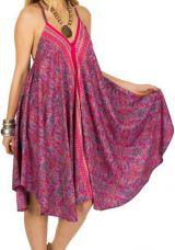 Robe de Plage Mi-Longue Colorée et Originale Rose Sanjiv 292124