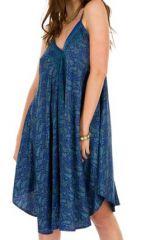 Robe de plage Mi-longue Ethnique et Colorée Bleue Chitta 292115