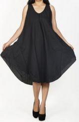Robe de plage noire coupe trapèze sans manches Félici 271219