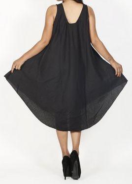 Robe de plage noire coupe trapèze sans manches Félici