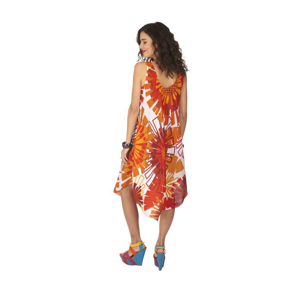 Robe de plage pas chère dans les tons orange Cymilia 317014