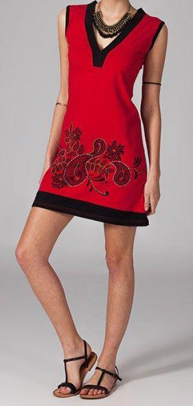 Robe de plage rouge en coton Jaelle 269121