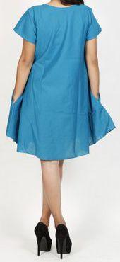Robe de plage unie de couleur bleu en coton Maia 271376