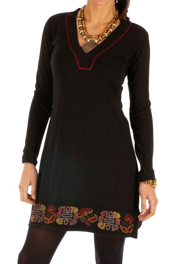 Robe de soirée noire originale et chic avec imprimés Monia 313372