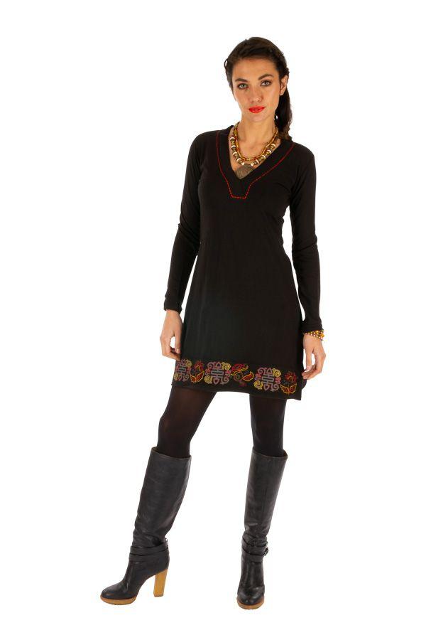 Robe de soirée noire originale et chic avec imprimés Monia 313373