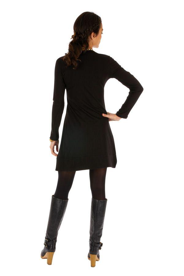 Robe de soirée noire originale et chic avec imprimés Monia 313374