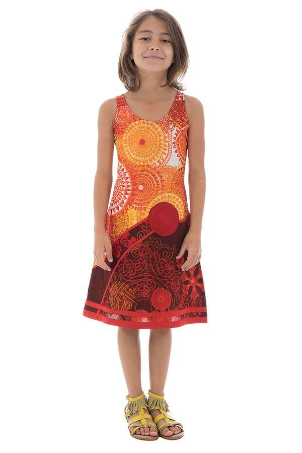Robe débardeur été pour enfant imprimée et originale orange Suala 291704