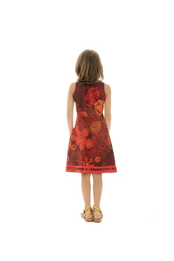Robe débardeur été pour enfant imprimée et originale orange Suala 291705