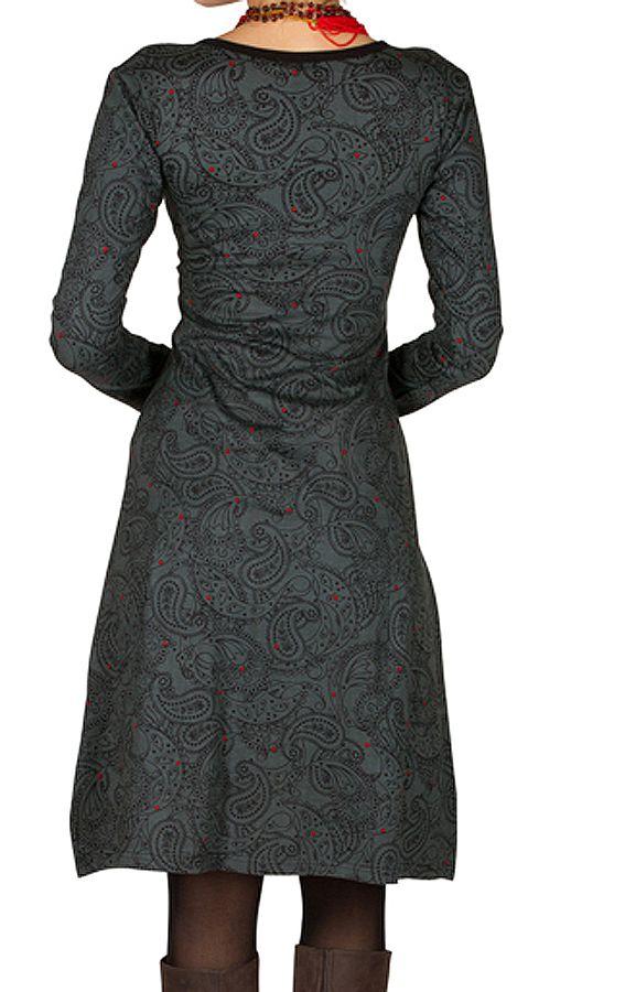 Robe Dita manches longues imprimés burlesque et baroque 300246
