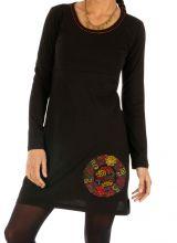 Robe droite courte noire ethnique au motif coloré Lakota 314047