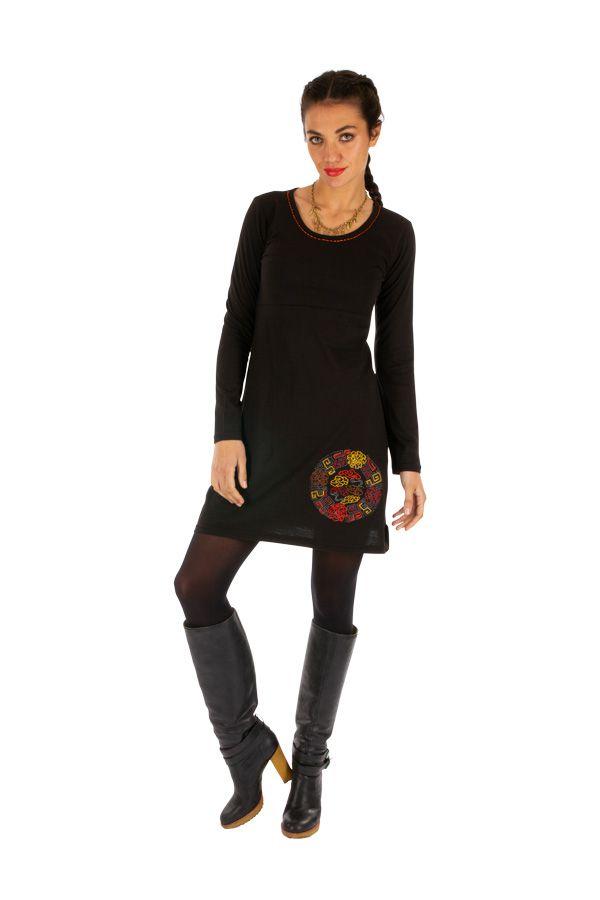 Robe droite courte noire ethnique au motif coloré Lakota 314048