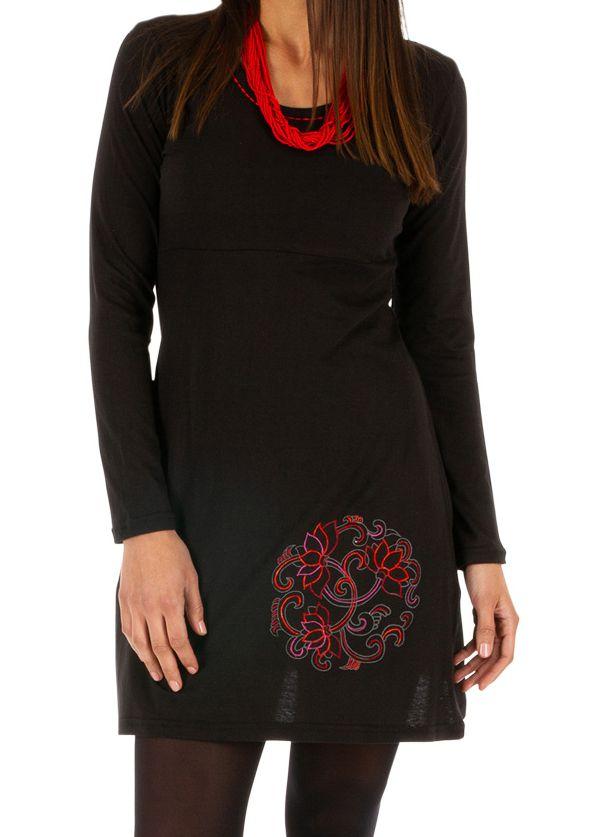 Robe droite noire ethnique à manches longues Vavoua 314038