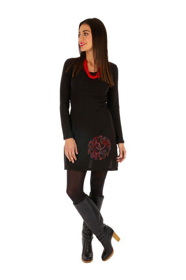 Robe droite noire ethnique à manches longues Vavoua 314039
