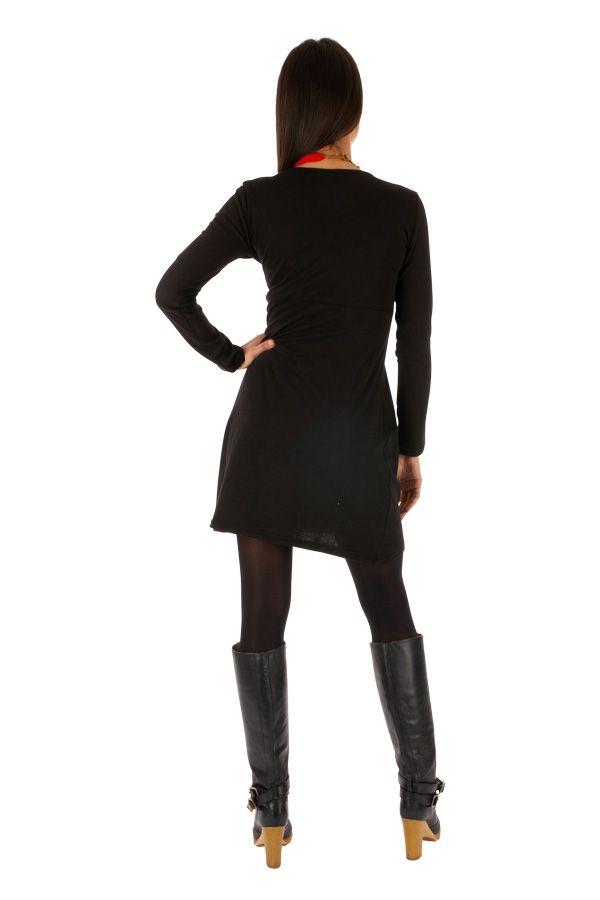 Robe droite noire ethnique à manches longues Vavoua 314040