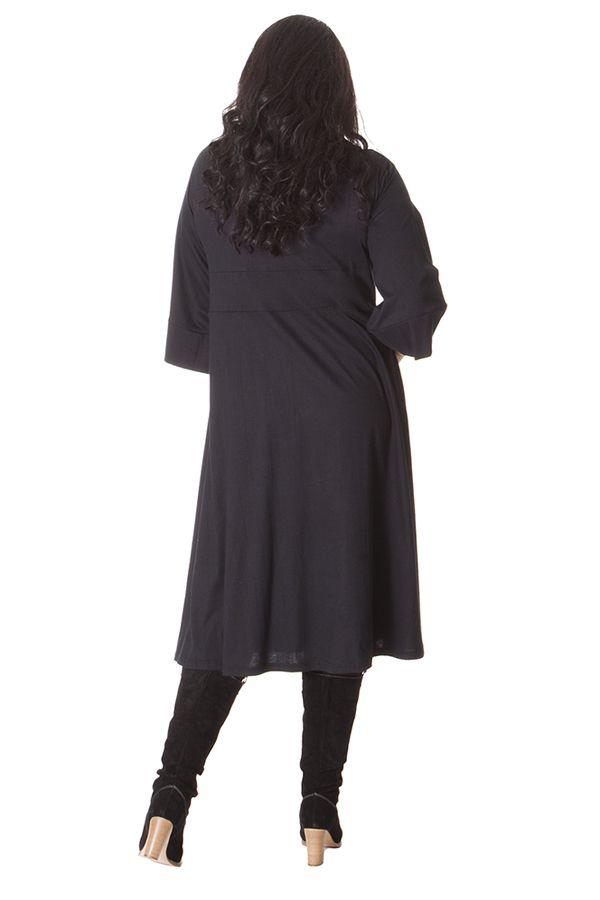 Robe droite noire grande taille avec un col en V 286306