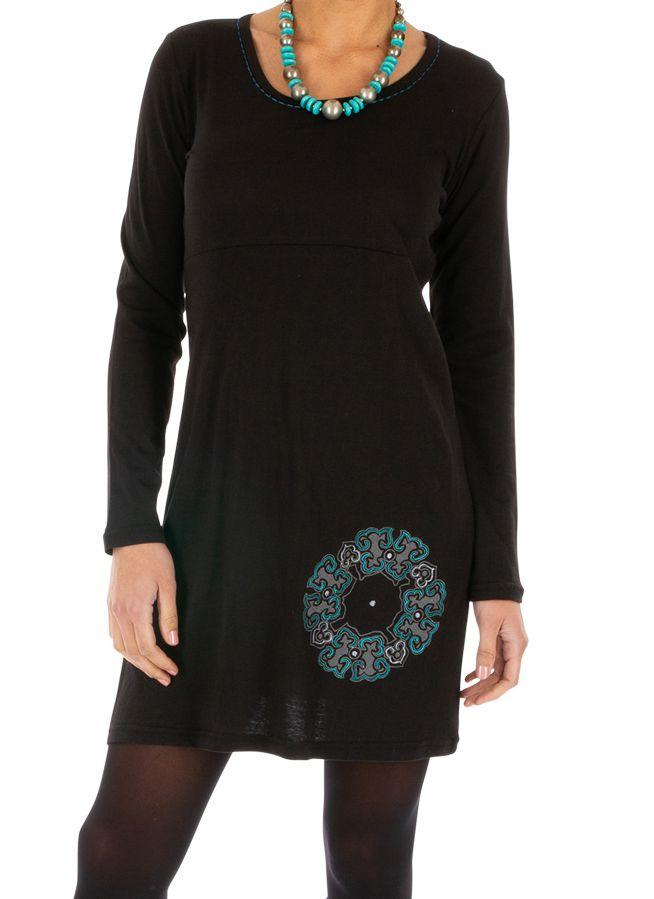 Robe droite noire pour femme ethnique et originale Adzopé 314014