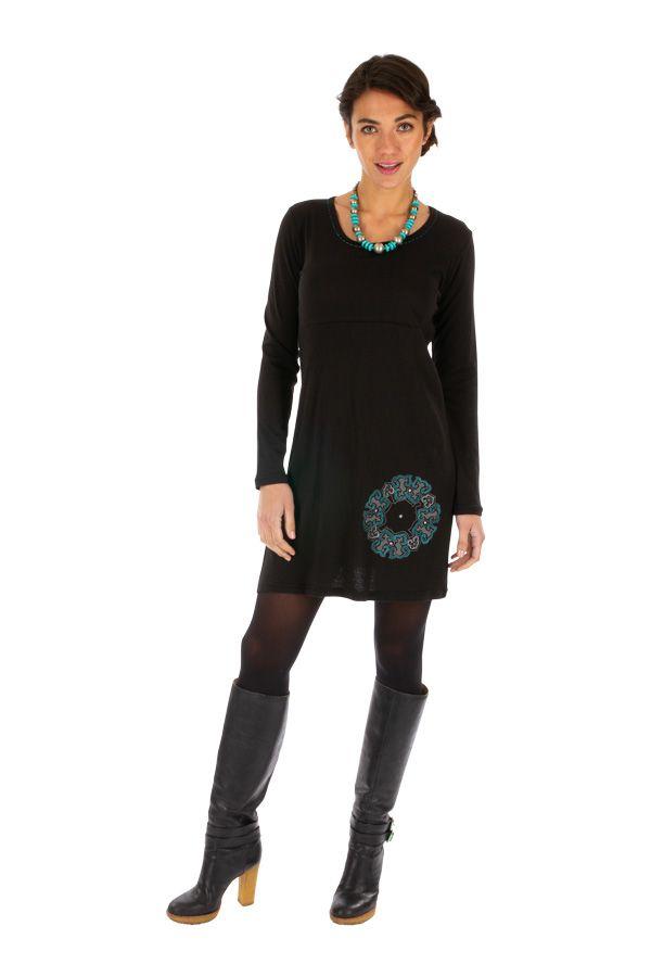Robe droite noire pour femme ethnique et originale Adzopé 314015