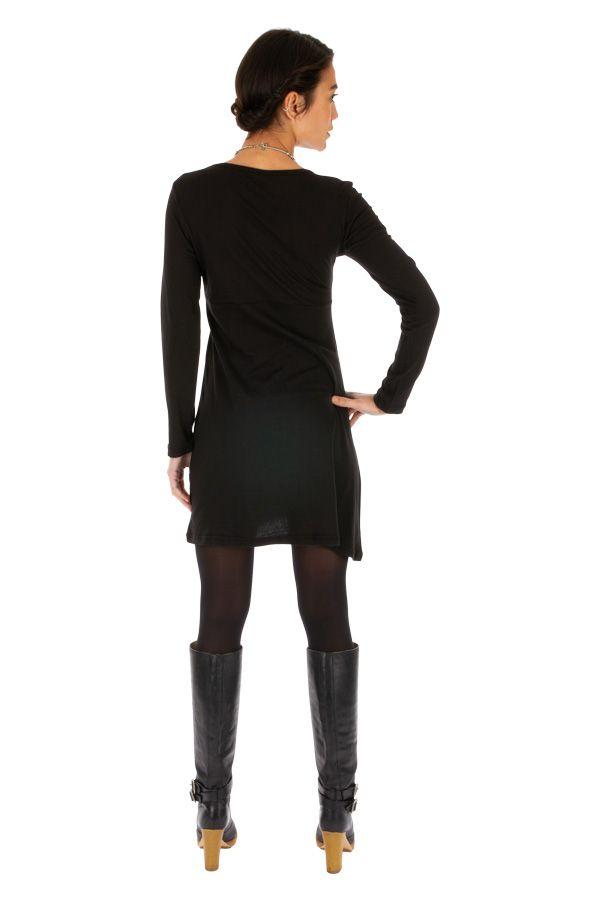 Robe droite noire pour femme ethnique et originale Adzopé 314016